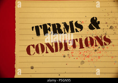 Handwriting Text Terms And Conditions Concept Meaning Legal Law