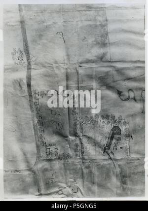 N/A. Nederlands: Detail van een kaart van de heerd Oosterhuizen, vervaardigd door Claes Harmens, gelegen te Eenrum . 1631. Claes Harmens 441 Detail kaart met heerd Oosterhuizen bij Eenrum, vervaardigd door Claes Harmens (1631) - Stock Photo