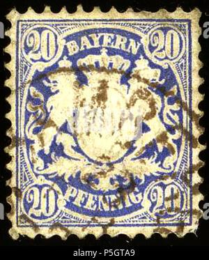 N/A. English: 20 Pfennig ultramarine Kingdom of Bavaria, issue January 1876. Used at Bamberg. Michel N°40. 15 December 2016, 10:50:06. J.P. Riess 30 1876 20Pfg Bayern Bamberg Mi40 - Stock Photo