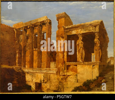 N/A. English: Exhibit in the Middlebury College Museum of Art - Middlebury, Vermont, USA. 4 March 2017, 15:27:35. Daderot 47 A View of the Erechtheum on the Acropolis, Athens, by Charles Lock Eastlake, 1818, oil on paper on canvas - Middlebury College Museum of Art - Middlebury, VT - DSC08177 - Stock Photo