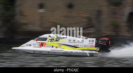PETER MORIN in action at the F1H20 Powerboat event - Royal Victoria Dock, London, UK - Stock Photo