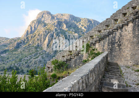 The mountains near St John (San Giovanni) Fortress and Castle, Old Town, Kotor, Bay of Kotor, Montenegro - Stock Photo