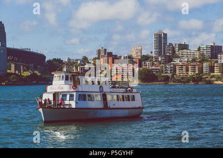 SYDNEY, AUSTRALIA - January 3rd, 2015: detail of Sydney Harbour with ferry passying by - Stock Photo