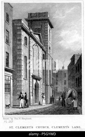 N/A.  English: SHEPHERD, Thomas Hosmer, 1793-1864: [CLEMENTS LANE - ST. CLEMENT EASTCHEAP] ST. CLEMENT'S CHURCH, CLEMENT'S LANE. [London: Jones & Co., 1831]. Llooking south down Clements Lane, with St Clement's church to the left. Engraved by James Charles Armytage (1802-1897) from an original drawing (now in the Museum of London) by Thomas Hosmer Shepherd, the master recorder of 19th-century London. First appeared in Shepherd's part-work series 'London and its Environs in the Nineteenth Century' (London 1829-1832). Steel line engraving on paper. Later hand colour. . 1831. engraving by   Jam - Stock Photo