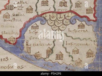 1125 Lambert De Saint Omer Liber Floridus Peninsula Iberica Stock