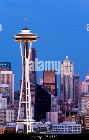 The Space Needle observation tower built, for the 1962 World's Fair, is an icon of Seattle, Washington. - Stock Photo