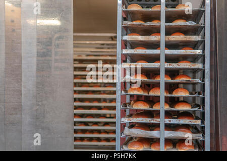 Freshly baked bread rolls on a baker's shelf trolley at a bakery. - Stock Photo