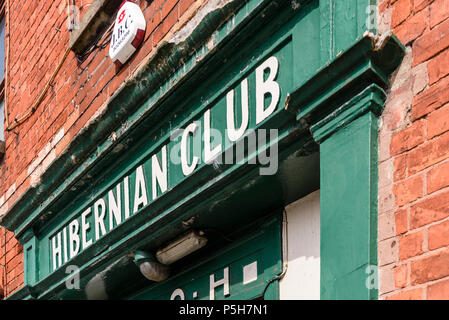 Entrance to an Ancient Order of Hiberian Club. Hibernians, AOH. - Stock Photo