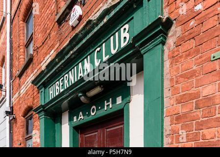 Entrance to an Ancient Order of Hiberian Club. Hibernians, AOH. - Stock Photo