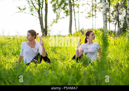 Two young attractive women practicing yoga, sitting in ardha matsyendrasana exercise outdoor in nature. - Stock Photo