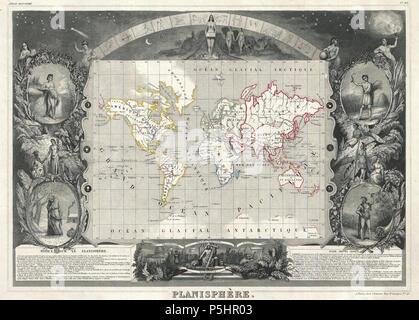 1847 Levasseur Map of the World - Geographicus - Planisphere-levassuer-1847. - Stock Photo