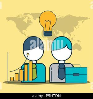 businessmen business briefcase statistics idea creativity digital marketing vector illustration - Stock Photo