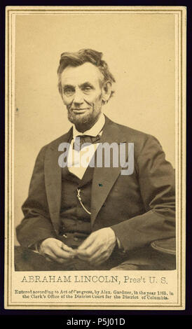 English: Abraham Lincoln, Pres't U.S. / Alex. Gardner, photographer to the Army of the Potomac. English: Photograph from the last formal portrait sitting, Feb. 5, 1865, in Washington, D.C. 'One of five poses taken by Gardner ten weeks before the President was assassinated.' (Source: Ostendorf, p. 219) . 5 February 1865. N/A 54 Abraham Lincoln, Pres't U.S. LOC 3253742644 - Stock Photo