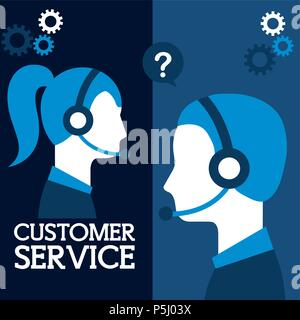 man and woman dispatcher company in laptop customer service vector illustration - Stock Photo