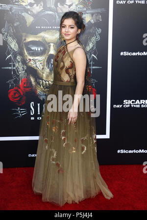Los Angeles, USA. 26th Jun, 2018. Isabella Moner at the Los Angeles premiere of 'Sicario: Day Of The Soldado' held at the Regency Village Theatre in Westwood, USA on June 26, 2018. Credit: Hyperstar/Alamy Live News - Stock Photo