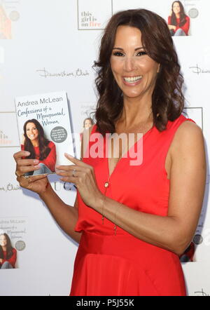 London, UK. 26th Jun, 2018. Andrea McLean at the Andrea McLean: Confessions of a Menopausal Woman Book Launch Party  at The Devonshire Club, Devonshire Square, London on Tuesday 26 June 2018  Photo by Keith Mayhew Credit: KEITH MAYHEW/Alamy Live News - Stock Photo