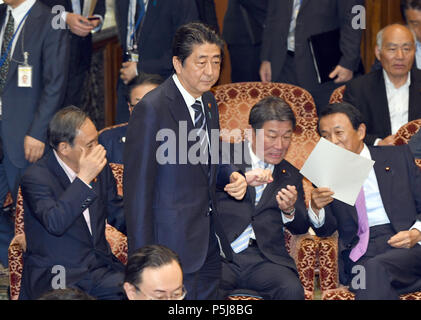 Tokyo, Japan. 27th June, 2018. Japan Prime Minister Shinzo Abe attends a Diet question time of the Joint Review Board of the Committee on Fundamental National Policies in Tokyo on Wednesday, June 27, 2018. Credit: Natsuki Sakai/AFLO/Alamy Live News - Stock Photo