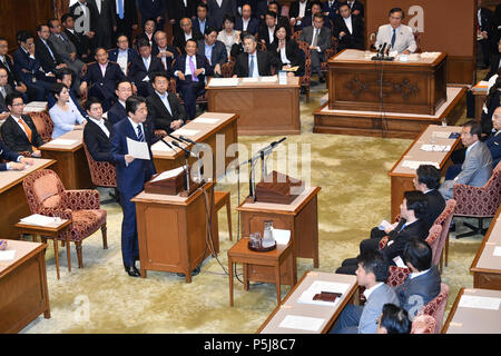 Tokyo, Japan. 27th June, 2018. Japan Prime Minister Shinzo Abe, standing at left, answers Yukio Edano, leader of the Constitutional Democratic Party of Japan, during a Diet question time of the Joint Review Board of the Committee on Fundamental National Policies in Tokyo on Wednesday, June 27, 2018. Credit: Natsuki Sakai/AFLO/Alamy Live News - Stock Photo