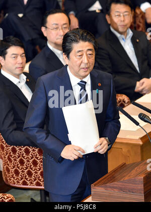 Tokyo, Japan. 27th June, 2018. Japan Prime Minister Shinzo Abe answers Yukio Edano, leader of the Constitutional Democratic Party of Japan, during a Diet question time of the Joint Review Board of the Committee on Fundamental National Policies in Tokyo on Wednesday, June 27, 2018. Credit: Natsuki Sakai/AFLO/Alamy Live News - Stock Photo
