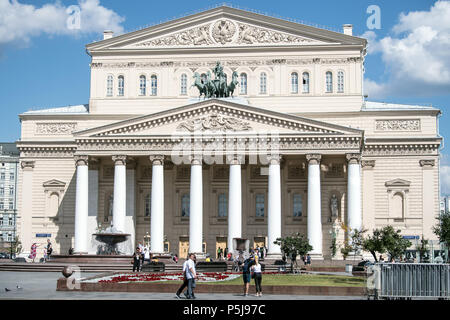 Moscow, Russia. 27th June, 2018. Tourists and locals walking in front of the Bolshoi theatre. Credit: Federico Gambarini/dpa/Alamy Live News - Stock Photo