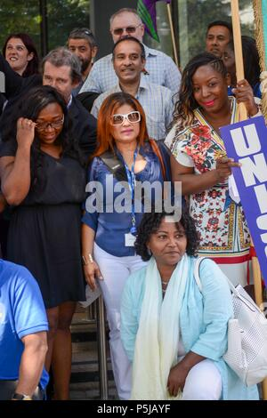Brixton, London, UK. 27th Jun, 2018. Union member Hassina Malik addresses the assembled workers. ,Lambeth town hall Brixton London UK. Black ethnic minorities workers accuse Lambeth chiefs of not acting fairly in there treatment of BME workers. A lunchtime action was called for by the Unison union, as management haven't responded to complaints or acted on race relations instructions, which is  50 years old this year,UNISON is calling on the current and future governments to renew a commitment to race equality at work and in the wider society. Credit: Philip Robins/Alamy Live News - Stock Photo