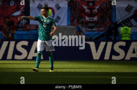 Kazan, Russia. 27th June, 2018. Mesut Oezil of Germany reacts during the 2018 FIFA World Cup Group F match between Germany and South Korea in Kazan, Russia, June 27, 2018. Credit: Li Ga/Xinhua/Alamy Live News - Stock Photo
