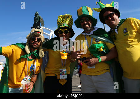 Spartak Stadium, Moscow, Russia. 27th June, 2018. FIFA World Cup Football, Group E, Serbia versus Brazil; Fans from Brazil Credit: Action Plus Sports/Alamy Live News - Stock Photo