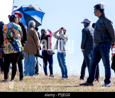 Beachy Head, Eastbourne, East Sussex, UK. 27th June 2018. Isabelle Kaif and Sooraj Pancholi filming on the beautiful south Downs of East Sussex in glorius summer sunshine Credit: Newspics UK South/Alamy Live News - Stock Photo