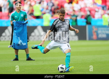 Kazan, Russia. 27th June, 2018.  Germany's Thomas Muller (front) ahead of their 2018 FIFA World Cup Group F match against South Korea at Kazan Arena Stadium; South Korea wins 2-0. Sergei Savostyanov/TASS Credit: ITAR-TASS News Agency/Alamy Live News - Stock Photo