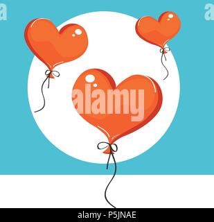 Vector illustration of red heart-shaped balloons. Isolated on background - Stock Photo