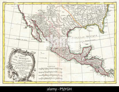 Carte du Mexique ou de la Nlle. Espagne Contenant aussi le Nouveau Mexique, la Californie, avec une Partie des Pays adjacents.  English: A beautiful example of Rigobert Bonne's 1771 map of Mexico and Florida. Covers from Baja California eastward to Florida and Carolina, extend northwards as far as the mouth of the Chesapeake Bay and southwards to Panama. Bonne, being a very cautious cartographer, abandons many of the fictious elements common to many period maps of this region, thus most unexplored areas are left blank. Being primarily a map of Mexico and the Spanish holdings in North America,  - Stock Photo