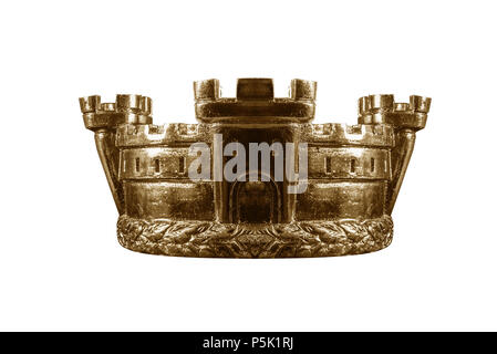 Gold crown isolated on white. - Stock Photo