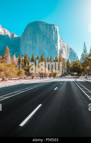 Famous El Capitan mountain peak with road running through Yosemite Valley in beautiful golden morning light at sunrise in summer, California, USA - Stock Photo