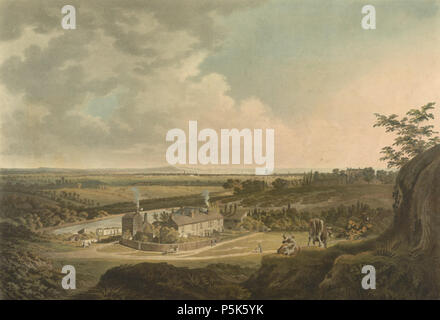 N/A. English: 'A View on Hampstead Heath, looking towards London,' coloured engraving, by the British artist Francis Jukes Sarjent. Courtesy of the British Library, London. 1804. Francis James Sarjent 47 A View on Hampstead Heath, looking towards London by Francis Jukes Sarjent - Stock Photo