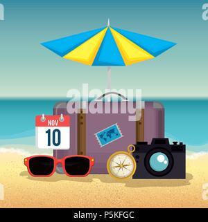 summer holidays set icons - Stock Photo