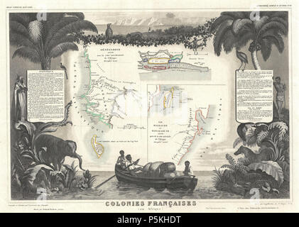 1852 Levassuer Map of Senegal, Senegambia, and Madagascar - Geographicus - Senegal-levasseur-1852. - Stock Photo