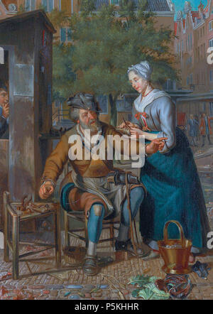 N/A. English: Cobbler working on the street oil on panel 39 x 28 cm signed t.c.l.: Ms. Naiveu  . before 1726.   Matthijs Naiveu (1647–1726)   Alternative names Matthijs Naiveu, Matthys Neveu, Matthys Naiveau  Description Dutch painter  Date of birth/death 16 April 1647 (baptised) 4 June 1726  Location of birth/death Leiden Amsterdam  Work period from 1667 until 1726  Work location Leiden (1667-1678), Amsterdam (1679-1726)  Authority control  : Q708036 VIAF:4722931 ISNI:0000 0000 6703 3297 ULAN:500017478 LCCN:no2007133019 WGA:NAIVEU, Matthijs WorldCat 359 Cobbler working on the street, by Ma - Stock Photo