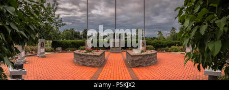 NEW HARTFORD, NEW YORK, USA - 23 JUNE, 2018: Panorama View of New Hartford Veteran Memorial Located at 11 Evalon Rd, New Hartford, NY 13412 - Stock Photo