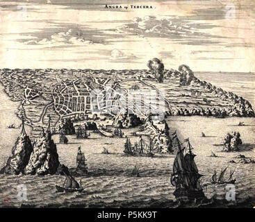 N/A. Português: 'Angra op Tercera', gravura da baía e cidade de Angra (atual Angra do Heroísmo) na ilha Terceira, Açores. 1671. Jacob van Meurs 102 Angra na terceira (in sec xix) - Stock Photo