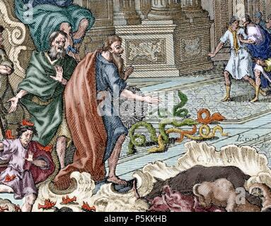 Aaron. High Priest of the Israelites. Aaron throwing her stick, which became in serpent, in front of the Pharaoh. Exodus. Colored engraving. - Stock Photo