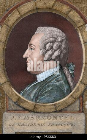 Jean Francois Marmontel (1723-1799). French writer and historian. Colored engraving. 18th century. - Stock Photo