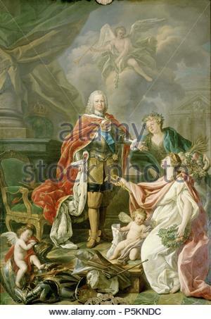 Antonio González Ruiz / 'King Ferdinand VI as protector of Arts and Science', 1754, Oi on canvas, 315 x 225 cm. Artwork also known as: Fernando VI como protector de las artes y las ciencias. Museum: REAL ACADEMIA DE BELLAS ARTES DE SAN FERNANDO. - Stock Photo