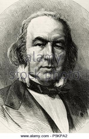 Claude Bernard (1813-1878). French physician and physiologist. Engraving at The Academy, 1878. Universal Illustrated Weekly. - Stock Photo
