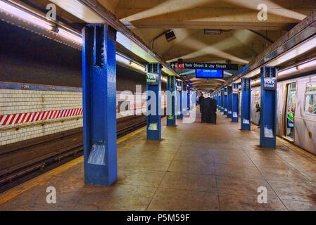 New York, USA- September 08, 2017: Platform in New York Metro at York Street Station. New York. USA. - Stock Photo
