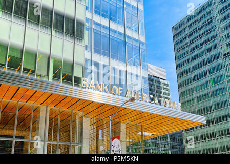 New York, USA- August 14, 2017 : Bank of America Tower and urban cityscape of New York. Midtown district. - Stock Photo
