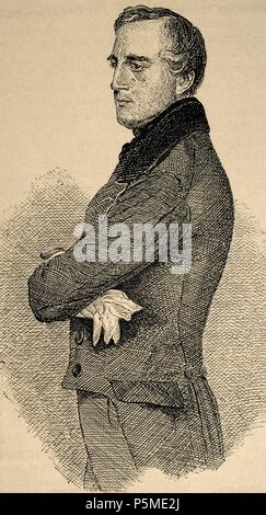 Karl Ludwig von Bruck (1798-1860). Austrian political. Engraving of The Universal History, 1885. - Stock Photo
