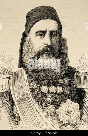 Abdi Pasha. Turkey Ottoman Commander in Chief of the Circassians. Engraving in The Spanish and American Illustration, 1877. - Stock Photo