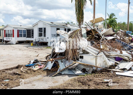 Everglades City Florida after Hurricane Irma houses homes residences storm disaster recovery cleanup flood surge damage destruction aftermath trash de - Stock Photo