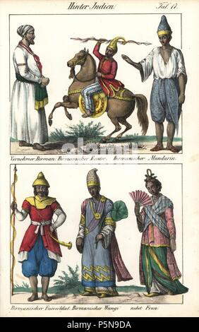 Costumes of northern India including Burmese nobleman, cavalryman, infantry, minister and wife. Handcoloured lithograph from Friedrich Wilhelm Goedsche's 'Vollstaendige Völkergallerie in getreuen Abbildungen' (Complete Gallery of Peoples in True Pictures), Meissen, circa 1835-1840. Goedsche (1785-1863) was a German writer, bookseller and publisher in Meissen. Many of the illustrations were adapted from Bertuch's 'Bilderbuch fur Kinder' and others. - Stock Photo