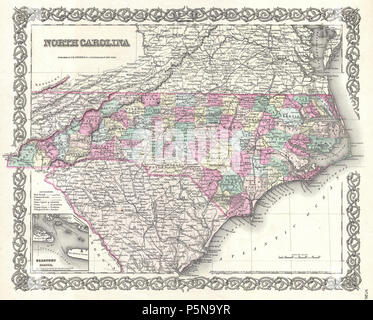 1855 Colton Map of North Carolina - Geographicus - NorthCarolina-colton-1855. - Stock Photo